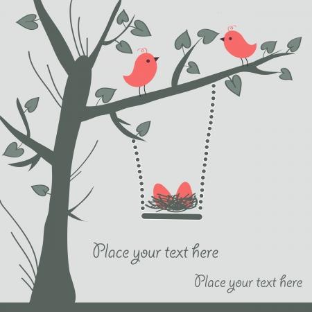 Vector Bird Card Illustration