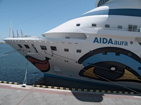 ODESSA, UKRAINE - JUNE 11,2012: Passenger ship M/S AIDA AURA (Built: 2003, Flag: Italy) visit Port of Odessa on 11 June, 2012 in Odessa, Ukraine.AIDAaura is the third ship operated by the German cruise line AIDA Cruises. Stock Photo - 14143579