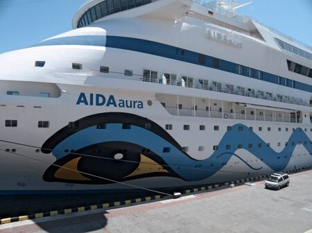 ODESSA, UKRAINE - JUNE 11,2012: Passenger ship M/S AIDA AURA (Built: 2003, Flag: Italy) visit Port of Odessa on 11 June, 2012 in Odessa, Ukraine.AIDAaura is the third ship operated by the German cruise line AIDA Cruises. Stock Photo - 14143580