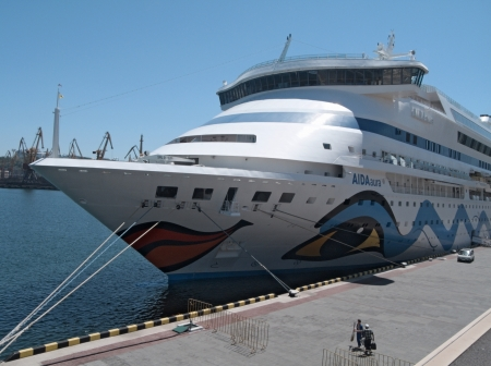 ODESSA, UKRAINE - JUNE 11,2012: Passenger ship MS AIDA AURA (Built: 2003, Flag: Italy) visit Port of Odessa on 11 June, 2012 in Odessa, Ukraine.AIDAaura is the third ship operated by the German cruise line AIDA Cruises.