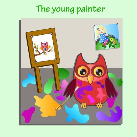 little painting owl (painter) Vector