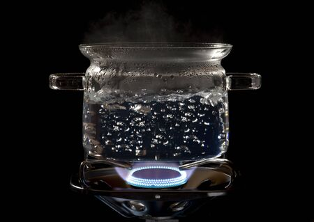 water cooking with bubbles Stock Photo