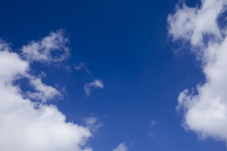 clouds, deep blue sky and space for text Stock Photo