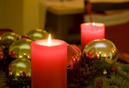 christmas candles and baubles