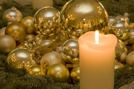 christmas candle and baubles