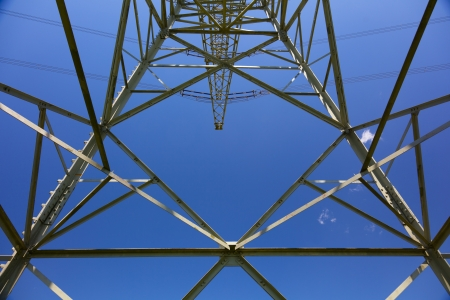 power distribution: electricity energy pylon Stock Photo