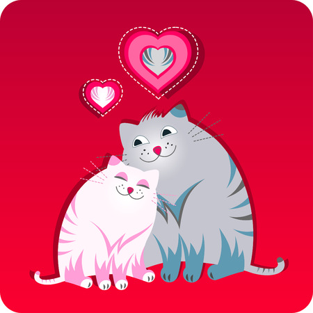 Funny greeting card with two cats sitting together with the little hearts. Red color. Vector