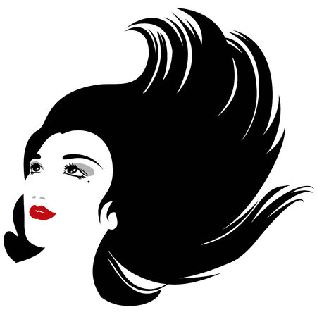 Abstract woman silhouette with hair in flow for cosmetic products design Vector