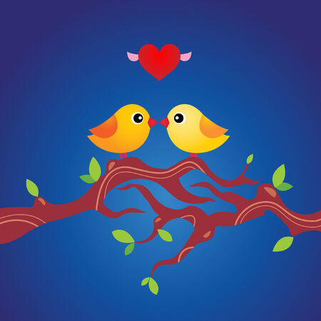 grungy love greeting card with two little birds in love on a branch Vector