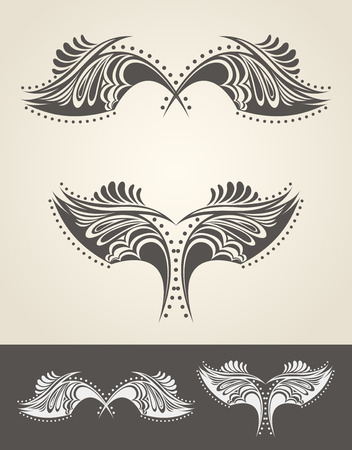 hand drawn wings: Abstract hand drawn wings in tattoo style - high quality detailed graphic. Illustration