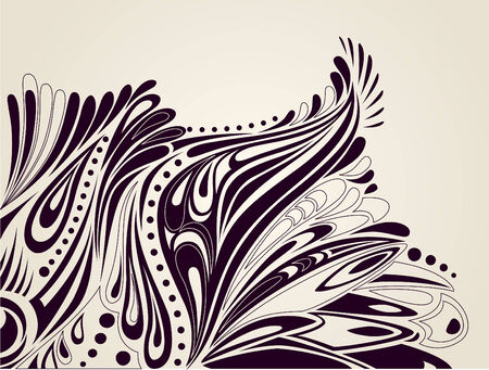 Elegant artistic background with curves and curled elements of nature - easy to edit isolated silhouettes Vector