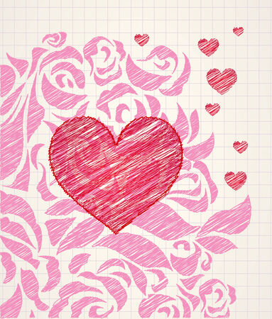 Abstract love doodle - sketchy heart and roses ballpoint pen drawing on a notepad page Stock Vector - 6608546