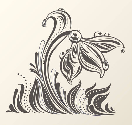 snowdrop: Abstract snowdrop with dew drops in a grass. Elegant spring composition combined from decorative shapes.  Easy to edit. Illustration