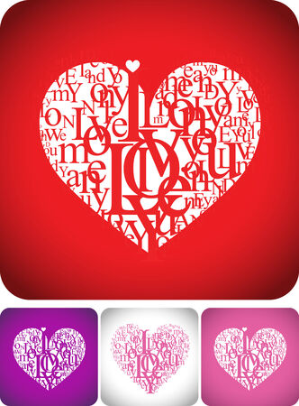 typeface:  Love greeting card for valentine day or wedding card design - typeface composition on red, white, pink and violet backgrounds