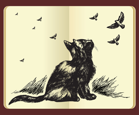 moleskine: Hand drawn cat looking up at flying birds in the sky - high quality drawing