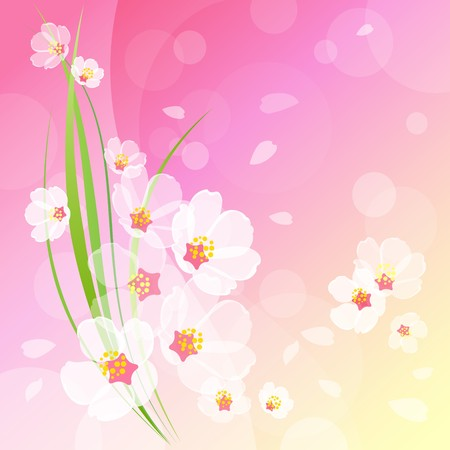 womanlike: Pink cherry background with flowers, flying petals, and fresh green stalk Stock Photo
