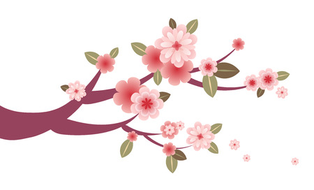 Spring blossom tree branch decoration Illustration