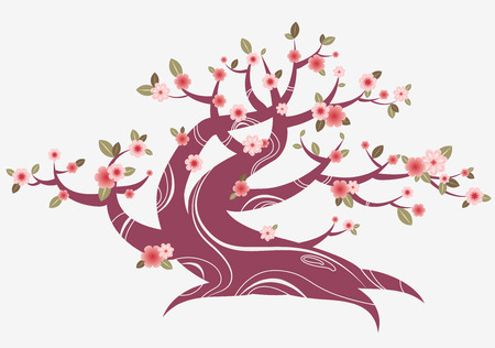 cherry blossom tree japanese styled Vector