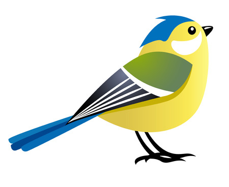 blue tit: cute cartoon bird female character Illustration