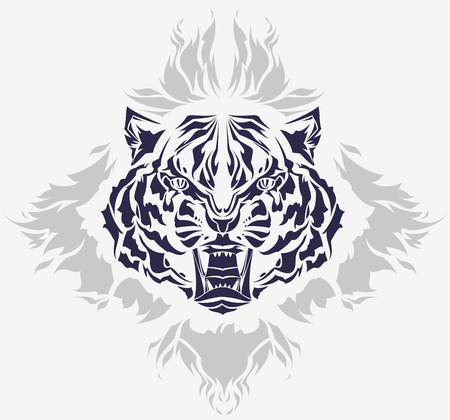 Roaring tiger head and flames isolated black silhouette
