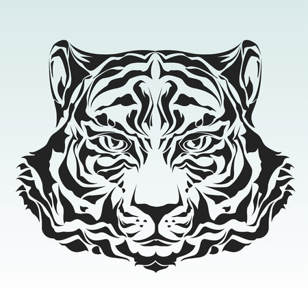 Tiger head tribal silhouette Vector