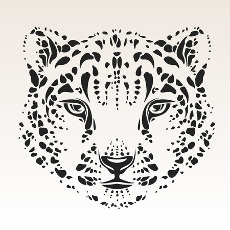 irbis: snow leopard head tribal  Illustration