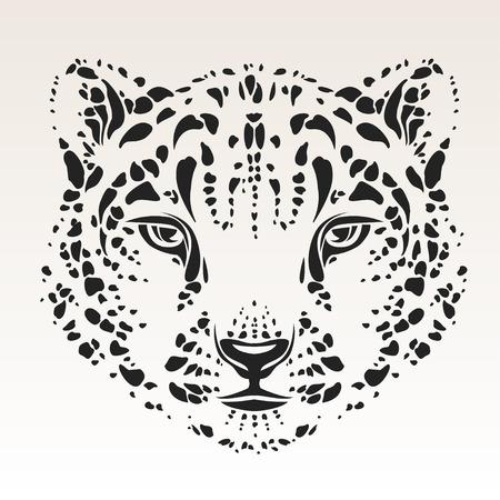 leopard head: snow leopard head tribal  Illustration