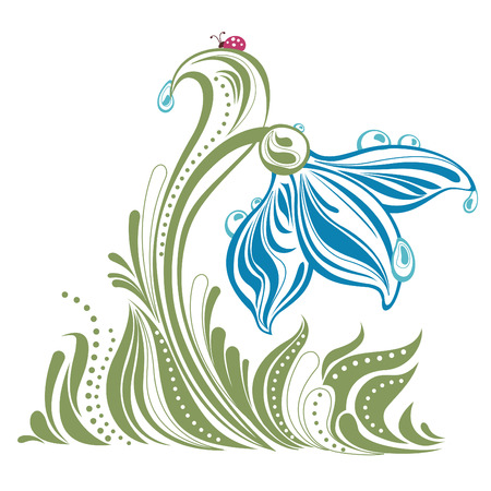 beautiful snow drop with dew drops illustration Vector