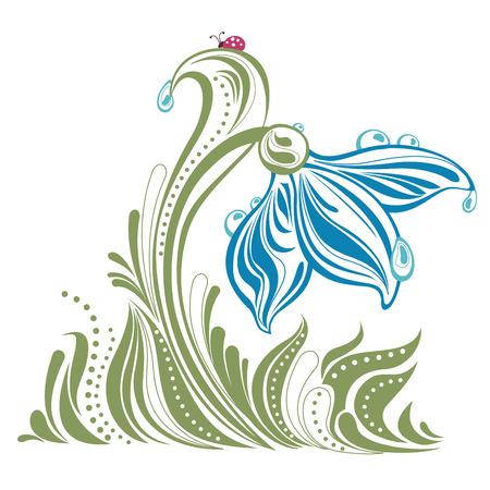 ochtend dauw: mooie sneeuw drop met dauw druppels afbeelding Stock Illustratie
