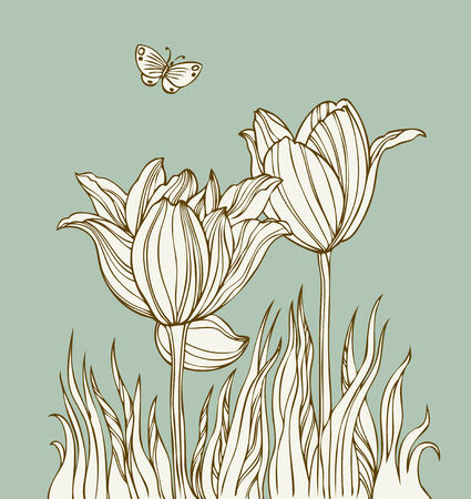 hand made: Vintage card with flowers and butterfly - Vector Illustration