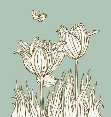 Vintage kaart met bloemen en butterfly - vector