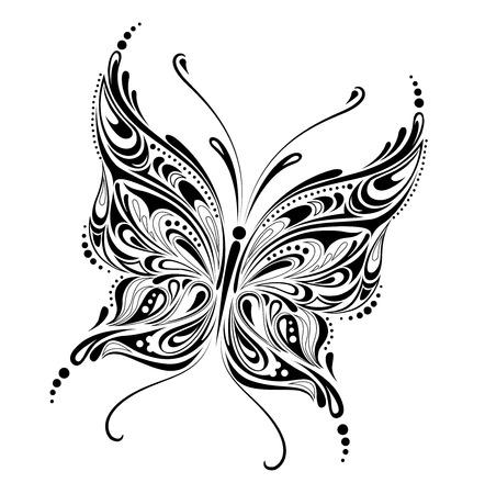 butterfly tattoo: farfalla astratta  Vettoriali
