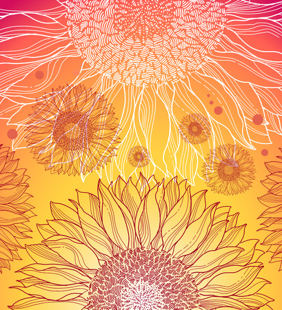 colorful sunflowers background Vector