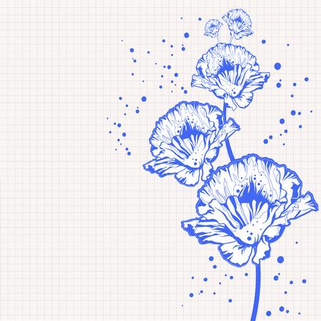 мак: рисованной цветы