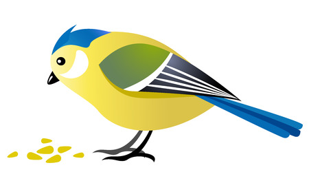 blue tit: Cute bird pecking corns - cartoon illustration