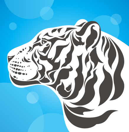 white tiger side view Vector