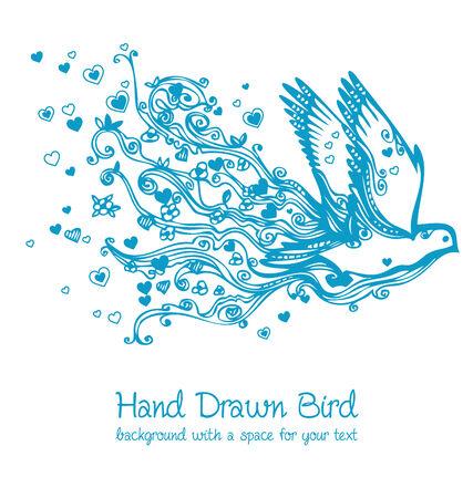 hand drawn wings: flying bird decor