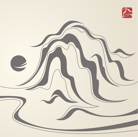 chinese waves abstract painting Vector