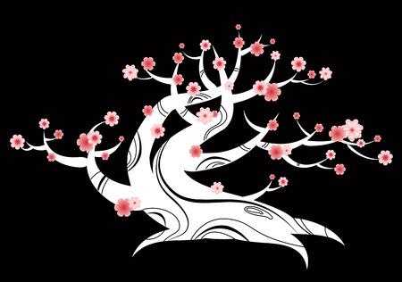 flowering tree japanese Vector