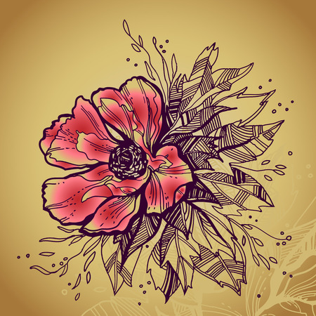 hand drawn flower: Grunge rose flower high quality drawing Illustration