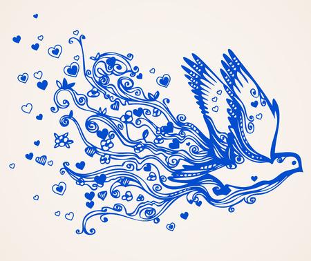 paloma caricatura: Ilustraci�n abstracta floral de vuelo ave