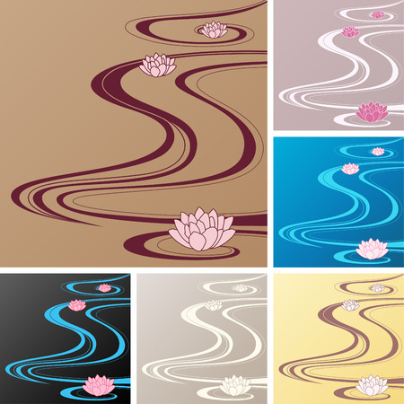 oriental waves asian backgrounds Stock Vector - 7860194