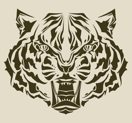 roaring tiger tribal Vector