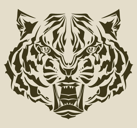 manlike: roaring tiger tribal Illustration
