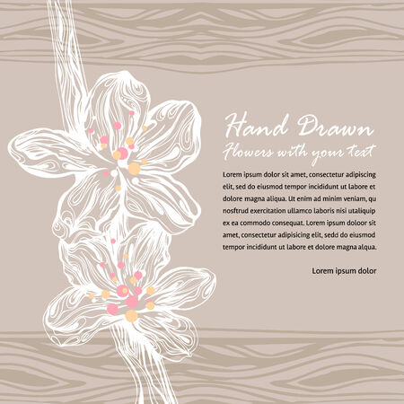 wedding card with two beautiful  flowers Vector