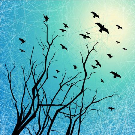 Flying birds and tree branches silhouettes on grunge background with scratch texture Vector