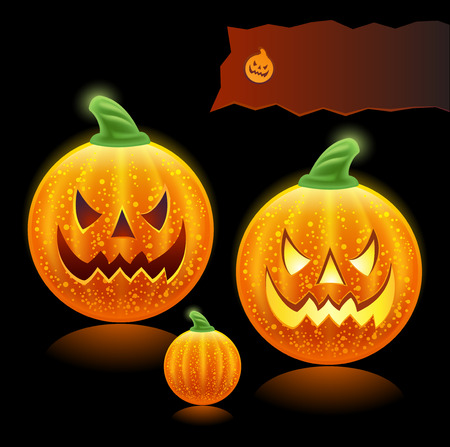 haloween pumpkins family - icons  Vector