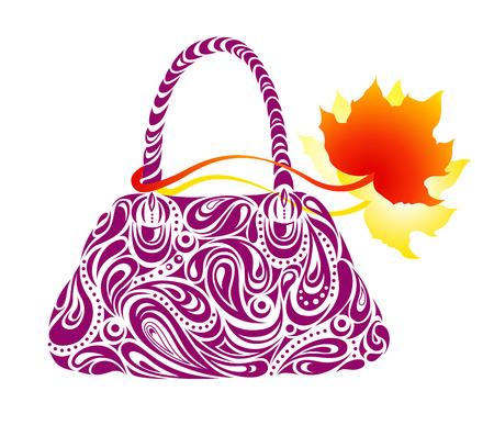 hand bag: Bolsa de mano de la mujer con una etiqueta de hoja Roja