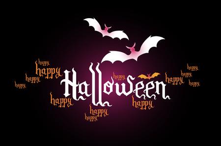 halloween creative headline banner - typographic composition Stock Vector - 7991877