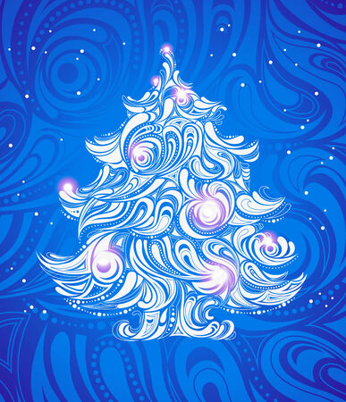 blue christmas tree background Stock Vector - 8225359
